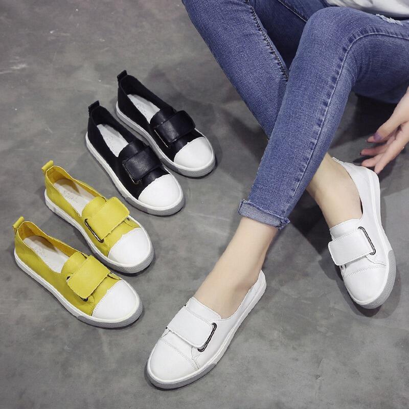 淺口單鞋女2020新款夏季韓版粘扣小白鞋女鞋子時尚百搭學生平底鞋