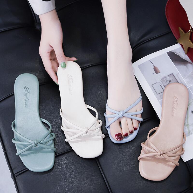 涼拖鞋女2020夏季新款韓版糖果色平底一字拖外穿度假小清新沙灘鞋