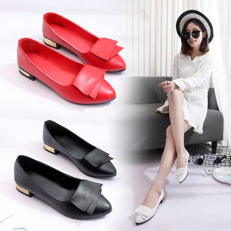 2020春季新款韓版簡約淺口尖頭粗跟低跟休閑純色單鞋懶人鞋仙女鞋