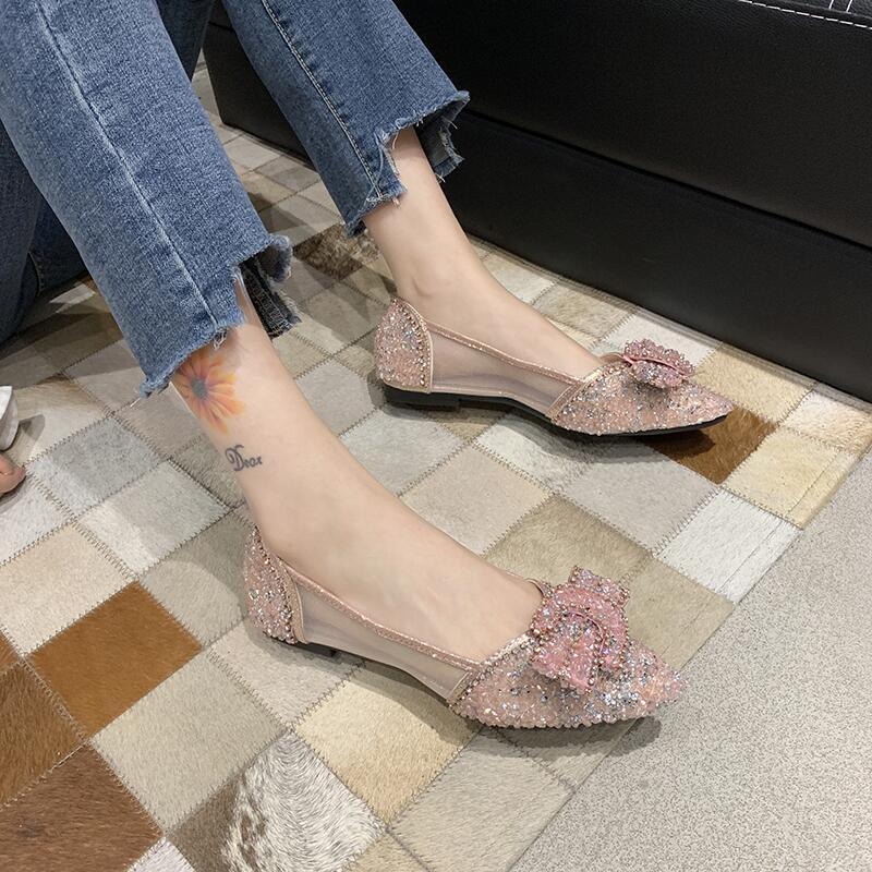 韓版水鉆尖頭淺口豆豆鞋女2020年夏季新款百搭蝴蝶結網紗粗跟單鞋
