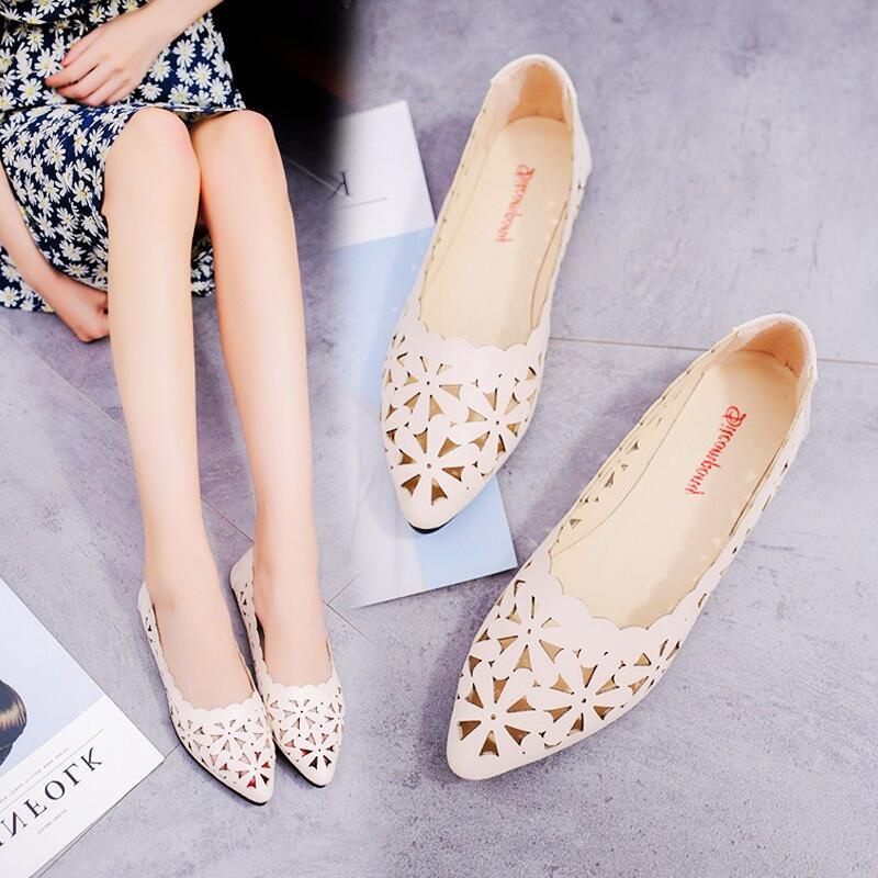 淺口單鞋女2020新款夏季韓版百搭鏤空平底一腳蹬女鞋子復古仙女鞋