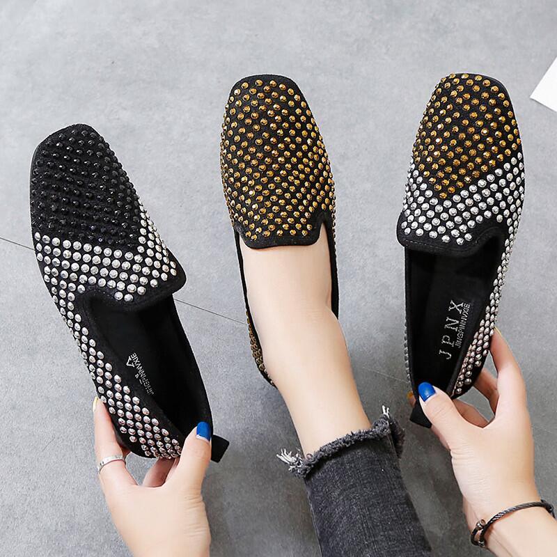 豆豆鞋女鉚釘亮鉆2020新款韓版夏季休閑平底一腳蹬懶人鞋方頭單鞋