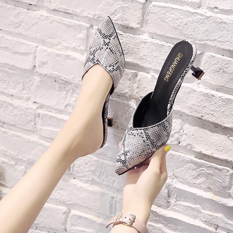 尖頭高跟拖鞋女2020春季新款休閑單鞋細跟一腳蹬淺口包頭半拖鞋女