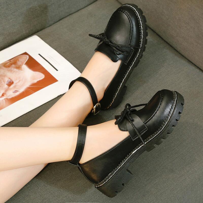 黑色學院風小皮鞋女鞋2020春季一字扣單鞋學生圓頭低跟方跟低幫鞋