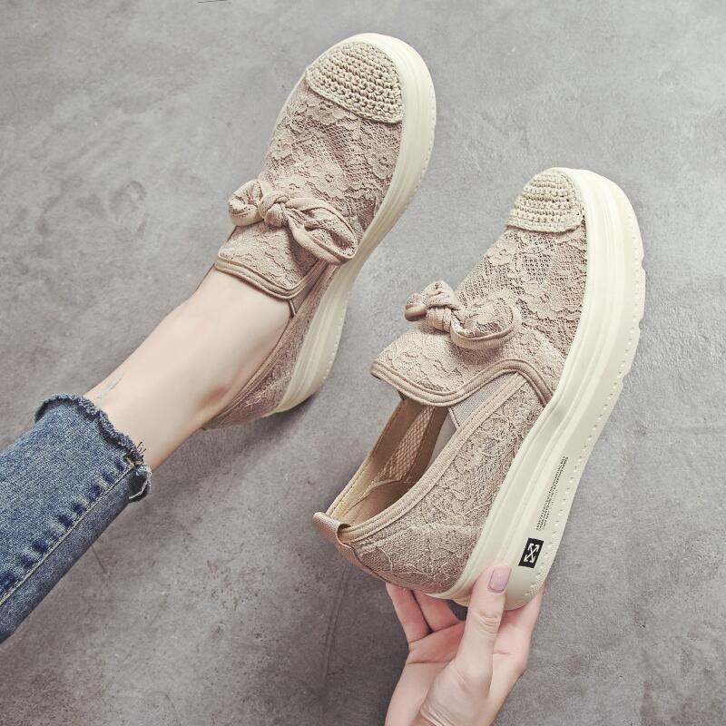 透氣蕾絲松糕鞋女鞋2019夏季低幫懶人套腳松緊帶蝴蝶結增高網面鞋