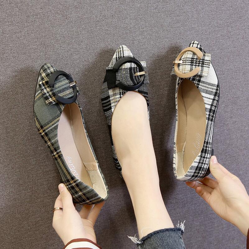 舒適拼色C扣淺口瓢鞋女2020年春季新款淑女氣質百搭低跟防滑單鞋