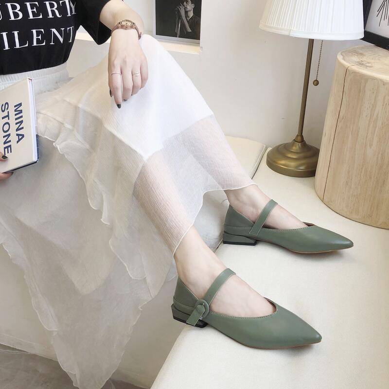 一字扣晚晚鞋女鞋2020溫柔仙女風尖頭淺口單鞋低方跟配長裙穿鞋子