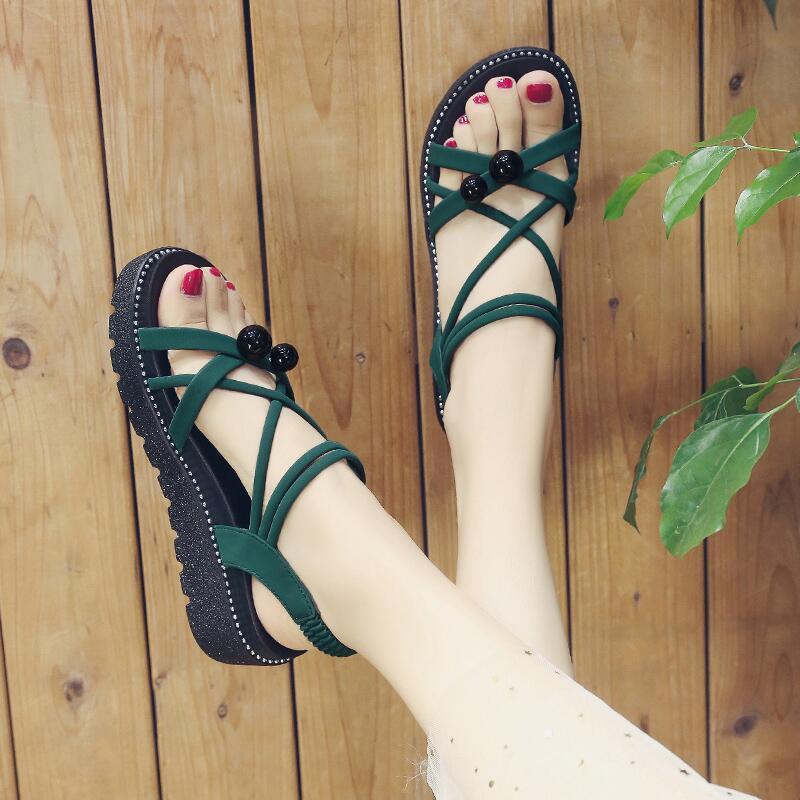 2020夏季新款涼鞋女韓版時尚仙女風露趾中跟松糕坡跟細帶羅馬涼鞋
