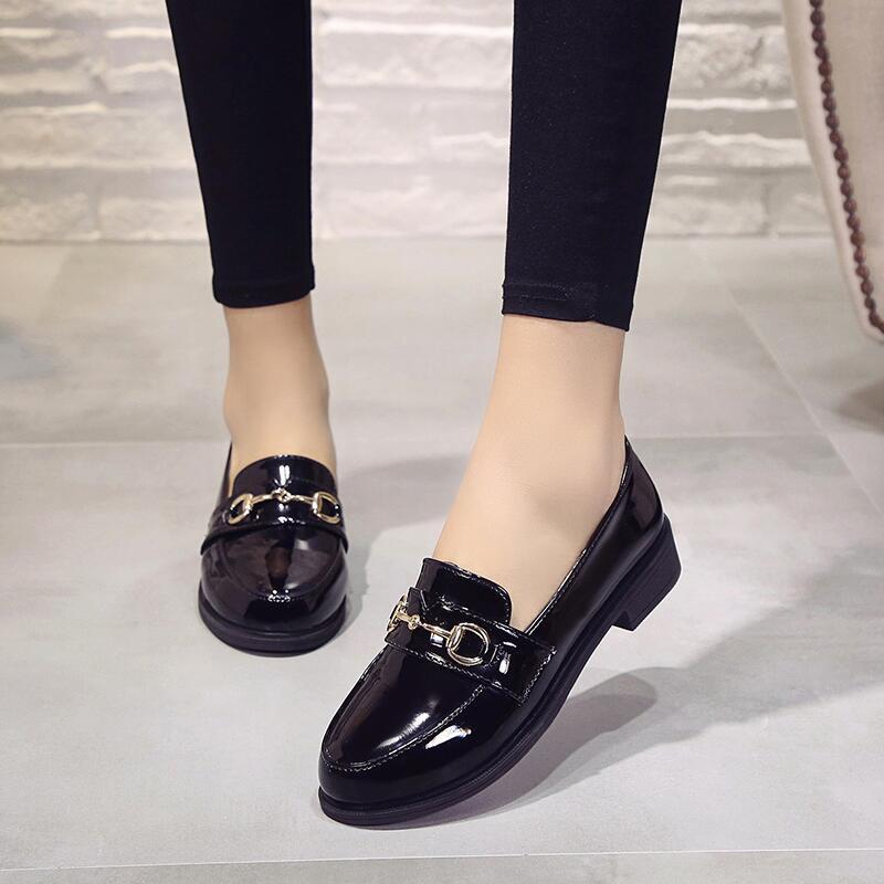 春秋季新款英倫學生chic小皮鞋女鞋子百搭復古低跟原宿一腳蹬單鞋