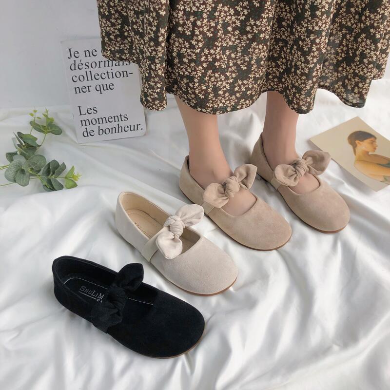 淺口松糕厚底蝴蝶結女單鞋包頭絨面復古軟底奶奶鞋女鞋平底瓢鞋潮