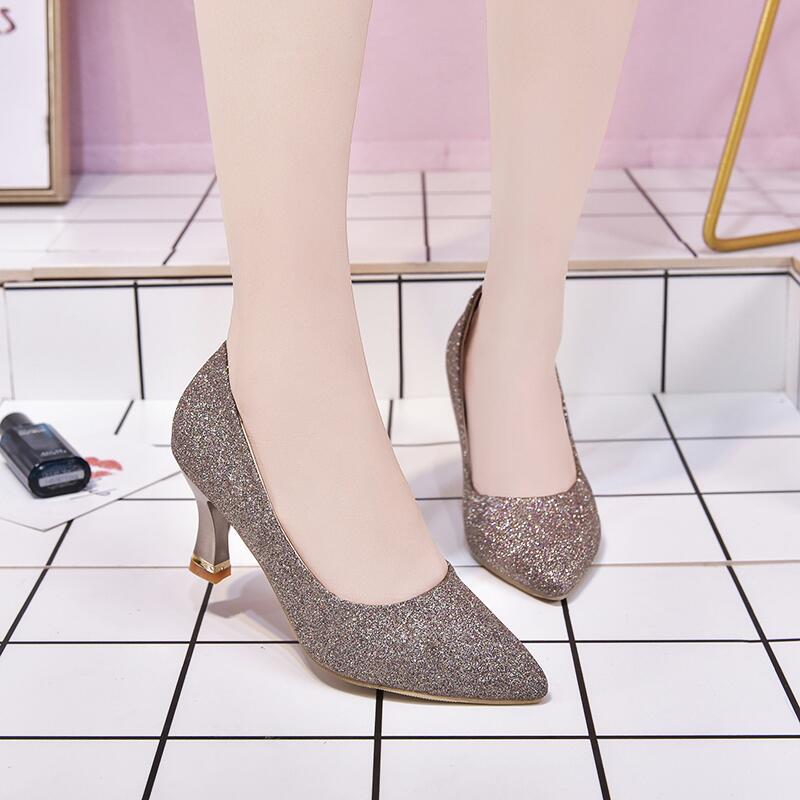 尖頭淺口單鞋女鞋2020春秋季韓版時尚亮片布原宿套腳職業女高跟鞋