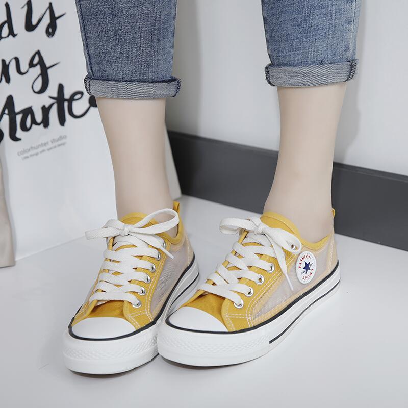 韓版網面系帶帆布鞋女2020年夏季新款時尚透氣鏤空平底防滑布鞋潮