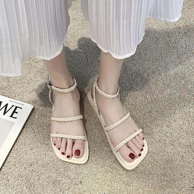 網紅編制一字扣涼鞋女夏2020年新款香芋紫細帶羅馬鞋海邊沙灘鞋潮