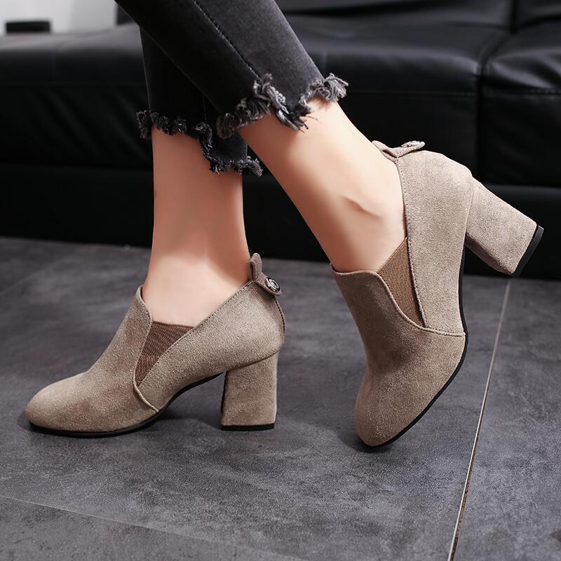 秋冬季新款2019韓版短靴女靴子時尚百搭粗跟中跟踝靴方頭單靴女鞋