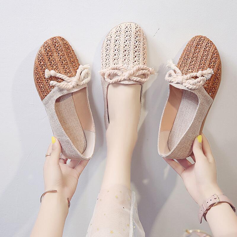 一腳蹬懶人鏤空透氣豆豆鞋女2020年春季新款溫柔舒適平底防滑單鞋