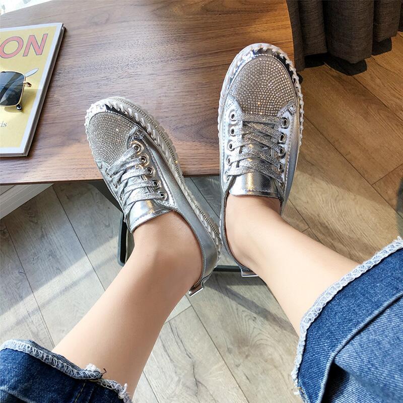水鉆板鞋女鞋2019秋款學生低幫系帶潮搭小白鞋厚底休閑運動低幫鞋