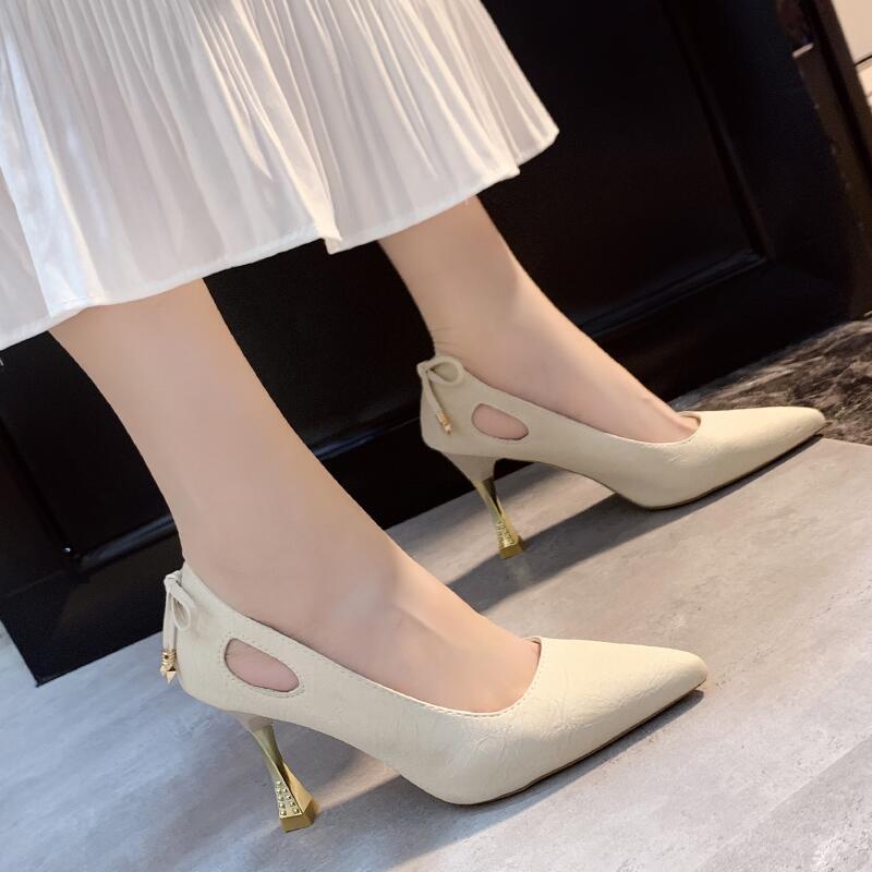時尚尖頭淺口高跟鞋女2020夏季新款性感百搭細跟小個子單鞋配長裙