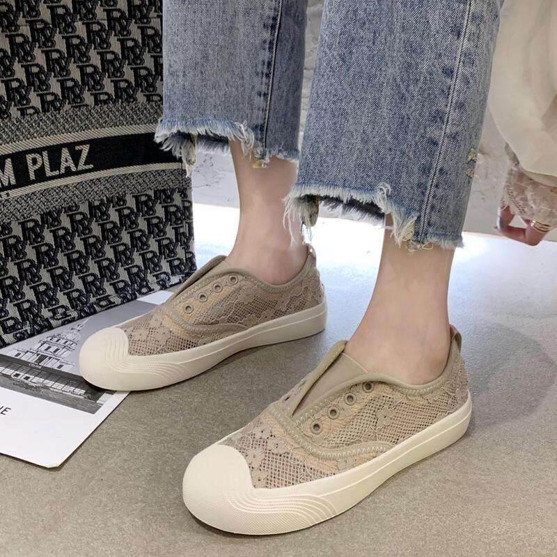 韓版蕾絲網面透氣漁夫鞋女2020年夏季新款百搭平底套腳懶人單鞋潮