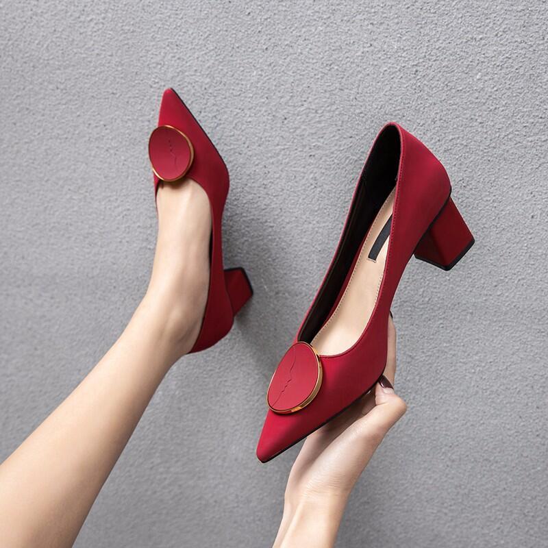 34小碼高跟鞋女粗跟2020春季新款百搭英倫小皮鞋復古尖頭淺口單鞋