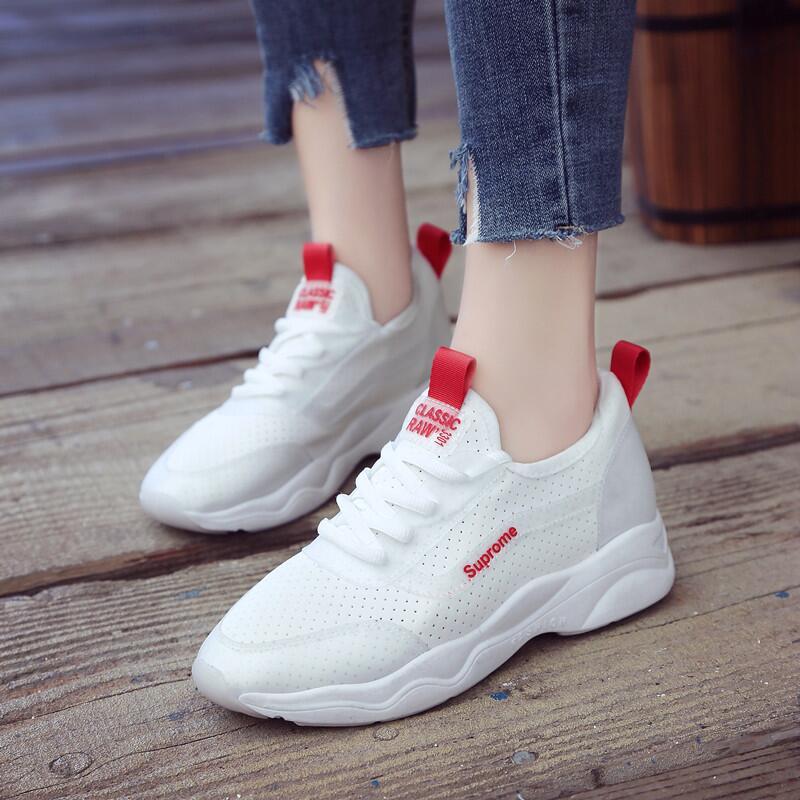 休閑韓版運動跑步鞋女2019春季新款松糕鞋白色網面透氣輕便女鞋