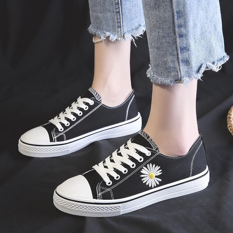 韓版超火小雛菊帆布鞋女2020年夏季新款學生百搭平底防滑休閑板鞋