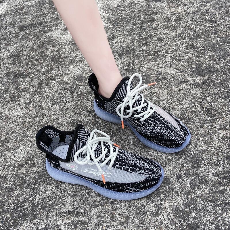 小雛菊果凍鞋女2020年夏季新款網紅飛織透氣厚底運動鞋超火夜光鞋