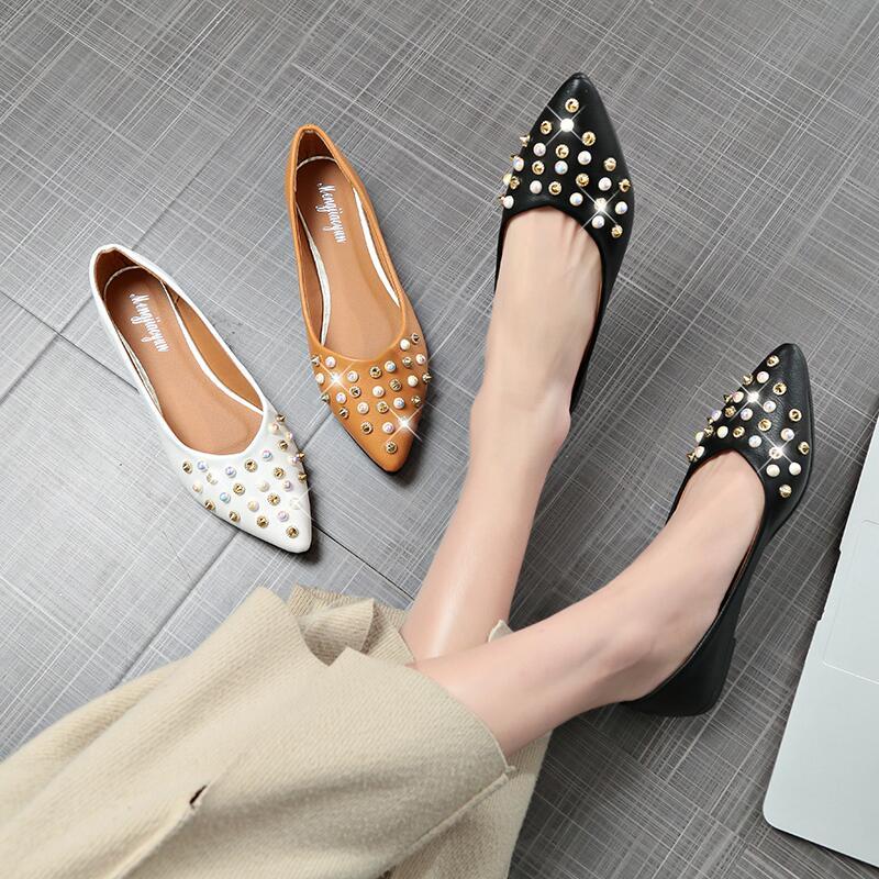 單鞋女平底夏季新款尖頭淺口純色鉚釘韓版時尚媽媽鞋一腳蹬懶人鞋