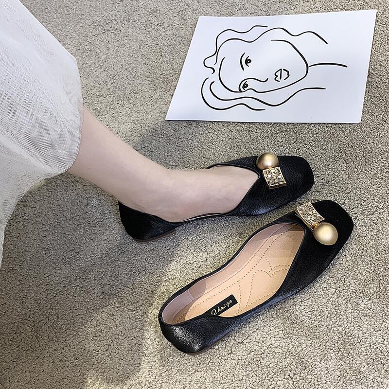 方頭軟底瓢鞋女2020年夏季新款小香風淺口粗跟防滑奶奶鞋孕婦鞋潮