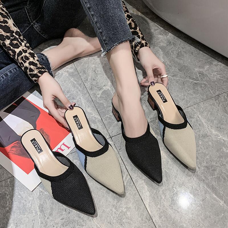 拖鞋女涼拖鞋2020春季新款飛織尖頭粗跟韓版外穿半托女時尚穆勒鞋