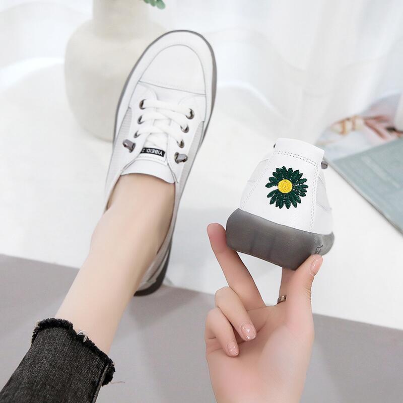 網紅小雛菊系帶網面透氣單鞋女2020年夏季新款韓版平底防滑小白鞋