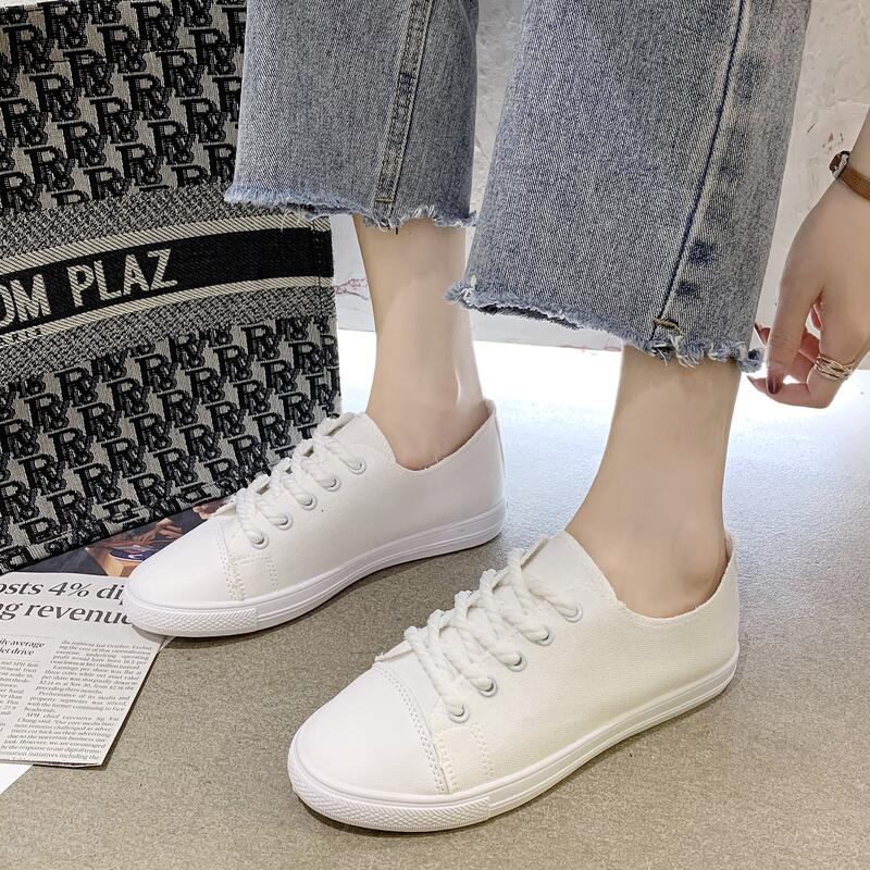 帆布小白鞋女2020年夏季新款韓版洋氣百搭爆款平底休閑板鞋天使鞋