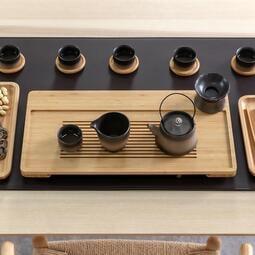 竹制茶盤抽屜儲水瀝水托盤簡易干泡茶臺排水小型兩人家用茶具日式