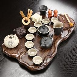可開發票-熱銷-熱門款立體貔貅杯子茶杯具紫砂茶具套裝小套分體簡約茶盤瀝水托盤茶臺功夫茶杯整套茶海組