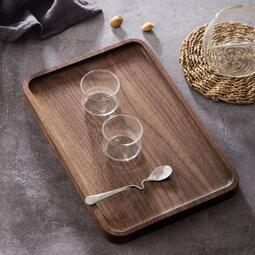 實木托盤北美黑胡桃木整木托盤無油漆日式木質茶盤長方形餐盤茶托