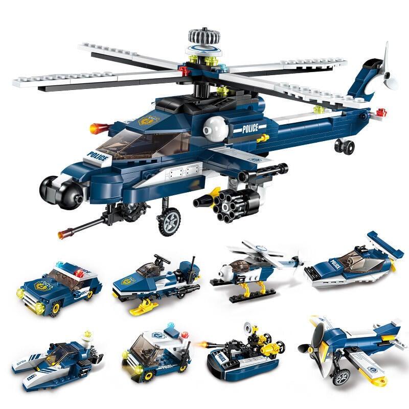 小盒裝積木拼裝玩具益智6-8-10歲男孩子兼容樂高智力模型警察飛機