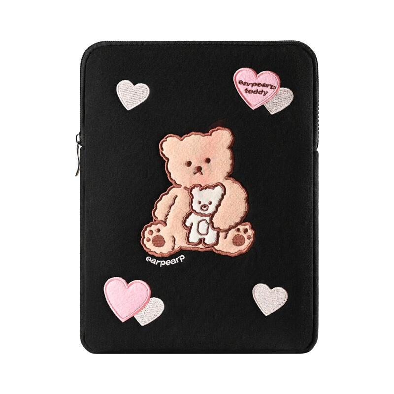 平板電腦內膽包女可愛小熊刺繡適用iPad10.2寸保護套air2/3 pro10.5華為平板包包手拿防震內膽包10.8寸