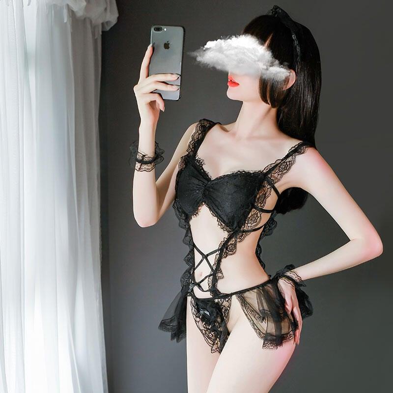 性感睡衣騷情趣內衣大碼透明女僕裝誘惑維密激情蕾絲製服挑逗套裝