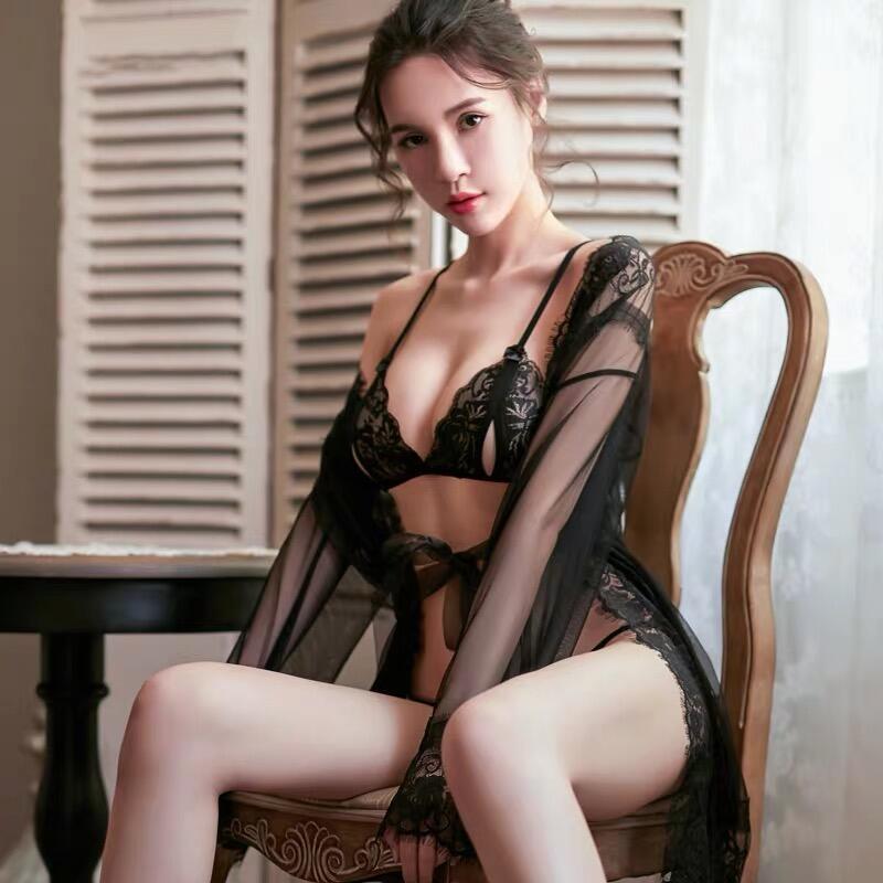 性感情趣內衣套裝透明蕾絲薄騷免脫睡衣床上製服激情誘惑挑逗維密