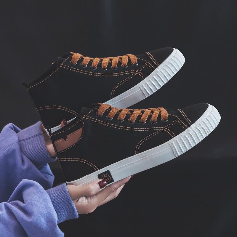 人本高幫帆布鞋女2020新款秋季百搭黑色復古港味鞋子女板鞋ins潮