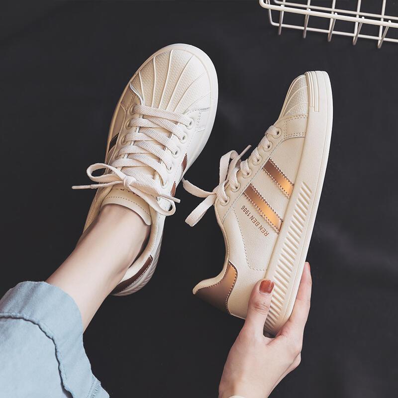人本貝殼頭小白鞋女2021春秋季新款女鞋爆款百搭學生板鞋ins潮鞋