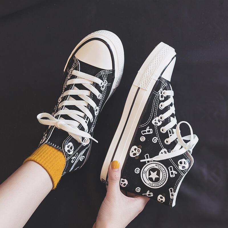 高幫帆布鞋女2021春季新款韓版ulzzang學生小黑鞋塗鴉板鞋ins潮鞋