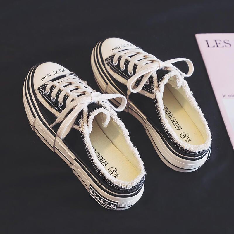 半拖小白鞋女無後跟一腳蹬鞋懶人帆布鞋2021春季新款百搭ins潮鞋