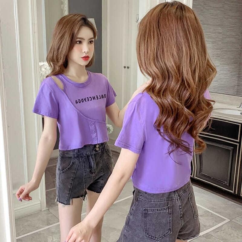 純棉 不規則短袖T恤女2020夏季新款韓版百搭顯瘦短款香芋紫上衣女
