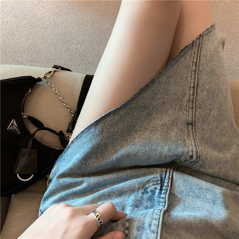 夏季新款設計感不規則牛仔中長裙女網紅ins高腰顯瘦百搭a字半身裙