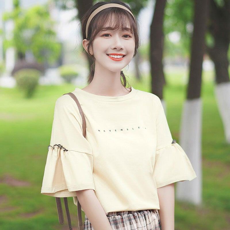 純棉 拼接荷葉木耳邊2021春夏季新款字母T恤學生短袖寬鬆上衣女夏