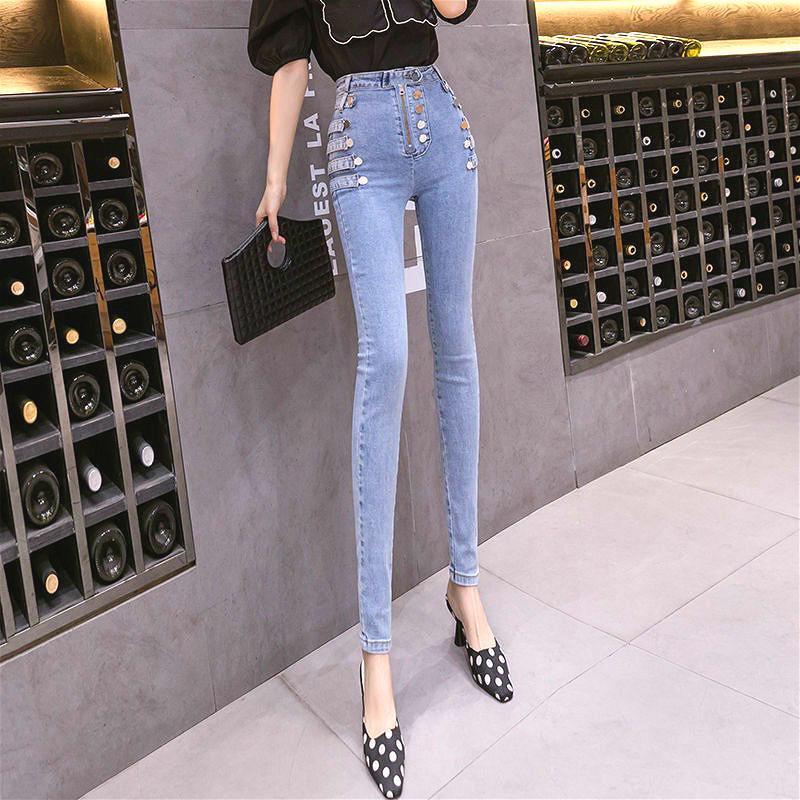 淺色牛仔褲 定製款高腰小腳褲 設計感修身鉛筆褲 彈力顯瘦小腳九分褲 韓版特殊牛仔長褲