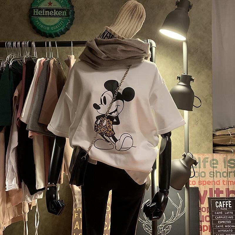 【現貨】Hot韓國新款短袖t恤女米老鼠卡通印花米奇寬鬆韓版白色上衣ins潮。