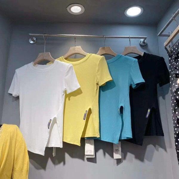 短袖T恤女2021新款夏季韓版修身顯瘦設計感開叉半袖體恤上衣ins潮