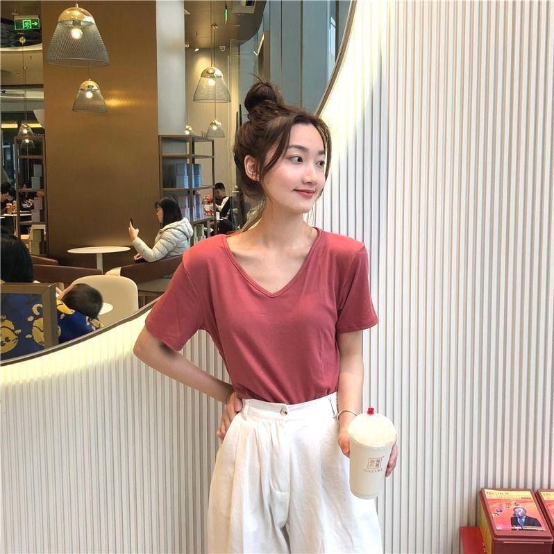 2021夏季新款小清新簡約純色V領短袖T恤女寬鬆顯瘦學生上衣打底衫