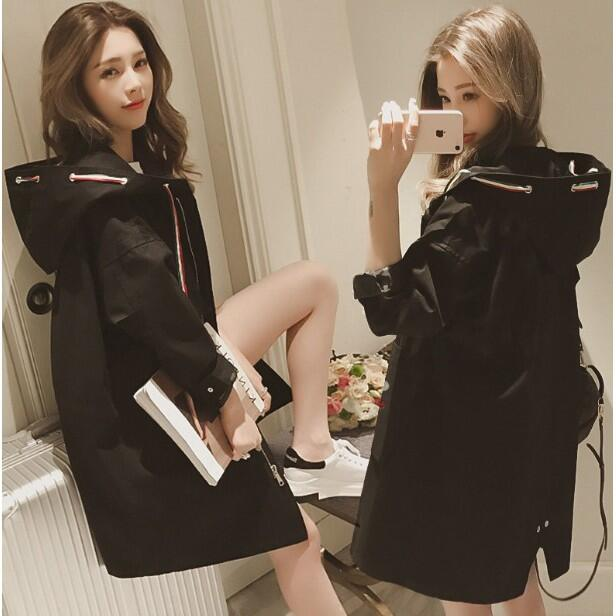 ☄M~4XL外套風衣👗新品📣現貨韓版風衣 秋季新款女裝百搭黑色風衣女中長款寬鬆顯瘦學生連帽外套女潮  有內裏